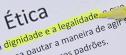 Texto sobre Ética com as palavras dignidade e legalidade em destaque